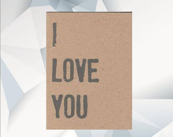I LOVE YOU , i love you Card, everyday card, cheer up card, greeting card, love, blank card, i love you blank card