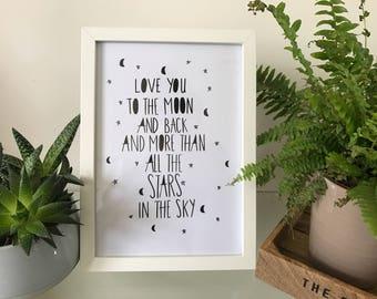 Handmade nursery moon and stars print