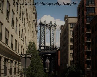 Manhattan Bridge Skyline Brooklyn New York City USA Print or Canvas Print