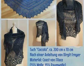 Handknit lace cloth, Coccola, scarf, shawl, blue