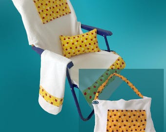 Junior size chair cover that converts to a tote bag!    Fits most low sitting chairs. Includes pillow, pat-dry towel, and 2 storage pockets.
