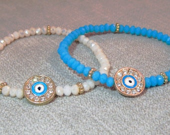 Pair of beaded evil eye bracelets