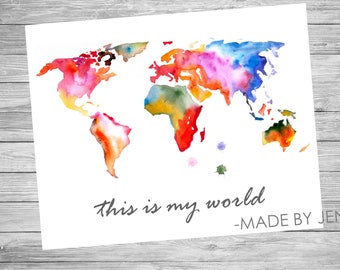 This is My World - Kid's Wall Art - INSTANT DOWNLOAD - Digital File 8x10