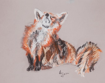 A3 prints sitting fox, hare, wolf, standing fox or owl