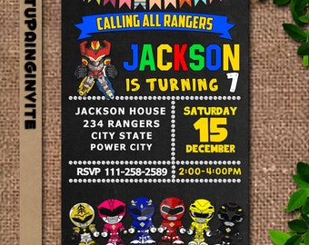 Power Rangers,Power Ranger Invitation,Power Rangers Birthday,Power Ranger Party,Power Ranger Birthday Invitation,Power Rangers Dino Charge