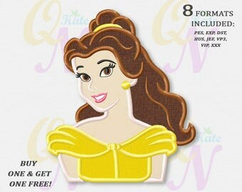 BOGO FREE! Belle Applique Embroidery Designs, Disney princesses Machine Embroidery Designs, Beauty and the Beast embroidery designs, #083