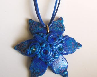 Blue Flower Pendant, Polymer clay jewelry, Pendant.