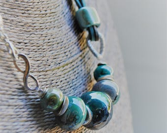 Necklace with turquoise and gray ceramic, handmade