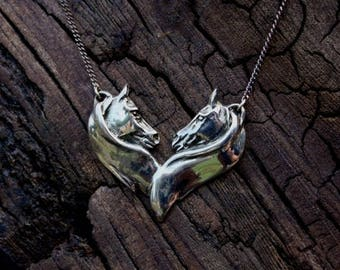 Silver Twin Horse Head Necklace