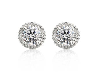 14k White Gold Plated Ladies Sterling Silver Studs With Halo Design