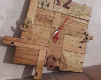 Wooden clock patchwork style-rustic-modern Design