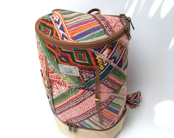 Ethnic-Style Red Backpack