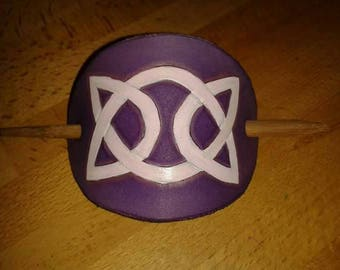 Hand made leather Barrette