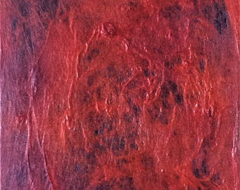 Unique wall art - Fiber Wall Hanging - Red - One of a kind Wall Art -  11x14 fiber wall art - Abstract painting