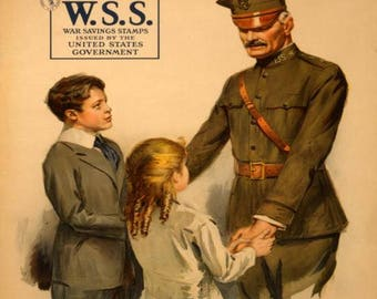 War Poster Help him win by saving and serving--Buy War Savings Stamps