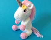 Crochet Pink  White Plush Unicorn Toy Amigurumi Soft Toy Kids Girls Gift