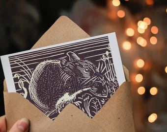 Pack of 3 x Field Mouse Blank Cards