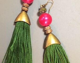 Tassel earrings bronzed pink & green