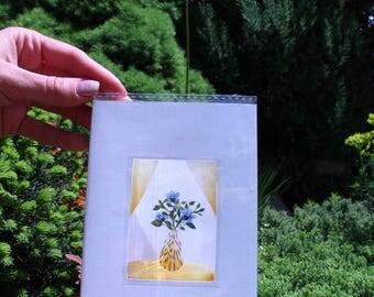 Bucket of flowers postcard