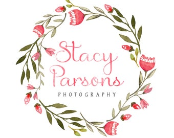 Watercolor Logo Design, Floral Photography Logo, Business Logo, Shop Branding, Calligraphy Logo, Flower Wreath Logo, Floral Watercolor