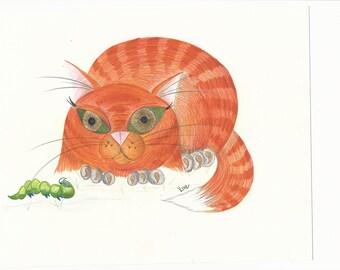 Orange Cat with Caterpillar