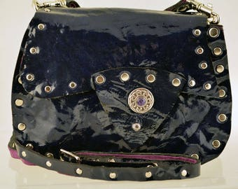Blue Patent Leather Pouch with Celtic Concho