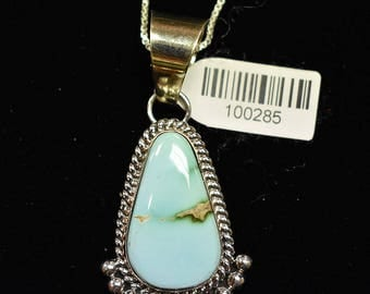 Sterling Silver Pendant W/ Royston Turquoise by Mary Ann Spencer, Navajo SS New Mexico