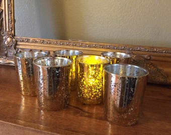Mercury Glass Votive Holder - Gold - 6