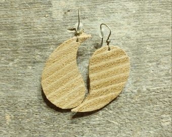 Stacked Leather Earring Yin and Yang, Genuine leather/ Lightweight earrings / Leather earrings