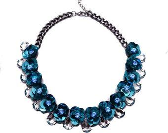 50%OFF Bib Statement Shourouk Sequin Blue Necklace