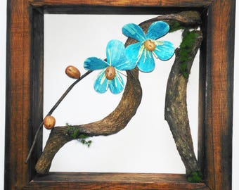 Handmade Flower Rattan Hanging Wood Frame Wall Décor