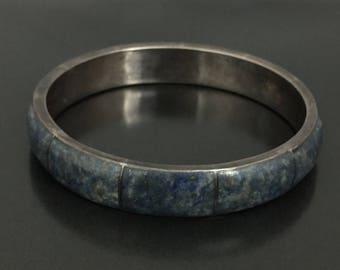 Vintage Chile 950 Sodalite Sterling Silver Bangle Bracelet