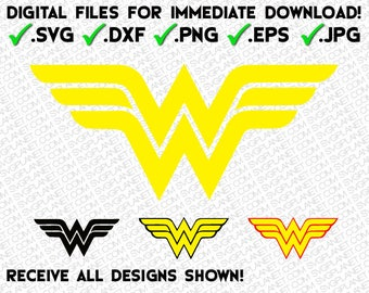 WONDER WOMAN logo in 5 file formats (svg, dxf, png, eps, jpg) download instantly!! image vector clipart files for cricut silhouette
