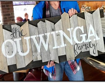 Custom hand painted reclaimed pallet family name sign