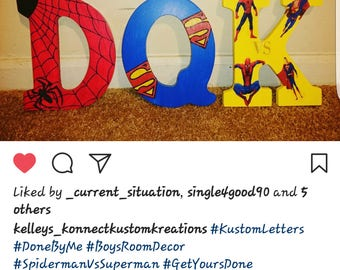 Kustom Made Spiderman Vs. Superman Letters