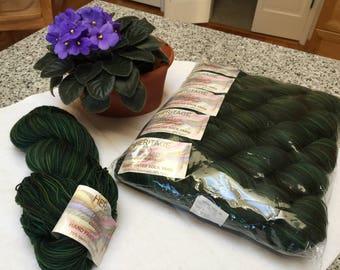 Heritage Hand Painted Sock Yarn Deep Green Merino Blend Lot of 5 skeins