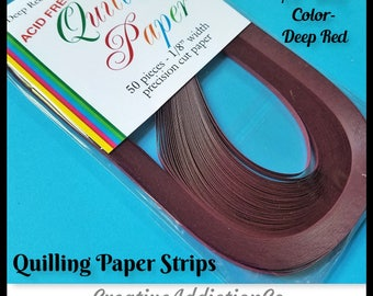 50 Strips, Quilling, Paper Strips, Deep Red, 3mm, Precision Cut Paper, 24 inch long, Quilling Art, Crafts, Paper, Design, Rolling, #317