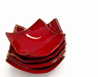 Set 4 handmade minibowls in red ceramic