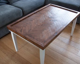 Reclaimed Wood Herringbone Coffee Table