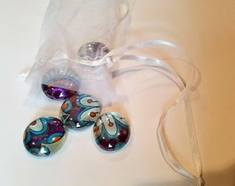 Set of 5 handmade Glass Marble Magnets