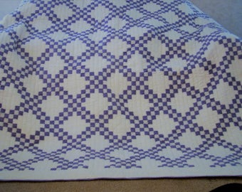 "Exclusively Hand Sewn Reversible King Quilt (86""X86"") Irish Chain Blue and White"