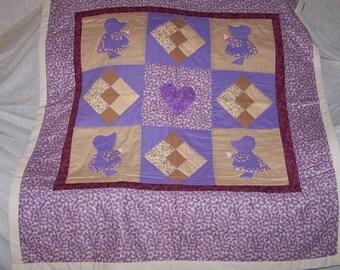 """Hand Sewn Baby Quilt (47.5""""L X 40.0""""W)  """"Sue Bonnett"""""""