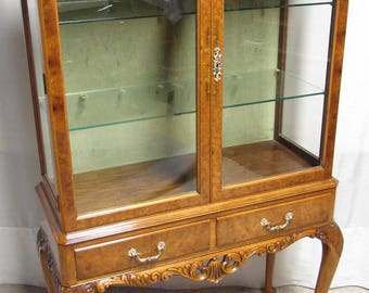Antique English Burr Walnut China Display Cabinet