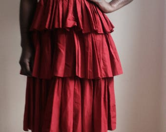 Red Taffeta 1950's party dress