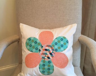 16x16 flower applique pillow