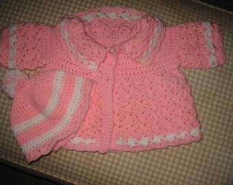 3 Month Infant Sweater and Hat/ Baby Girl