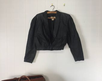 VINTAGE Cropped Black Leather Jacket Size 12