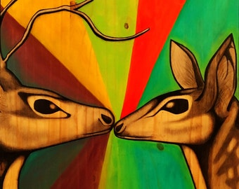 The Lovers //MAJOR//ARCANA// Deer, Love, Kissing, Painting, Art