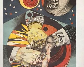 Vintage World Peace Hands Embracing Political Pop Art Poster Print