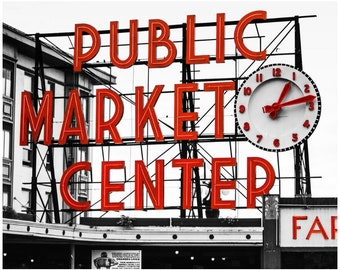 Seattle's Pike Place Public Market Print on Canvas - Black & White with Red - Urban Photography - 12x16 to 24x30 Large Wall Art